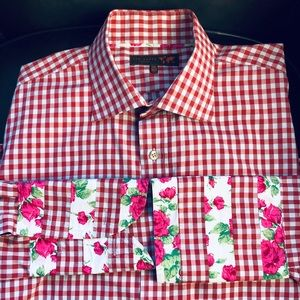 TED BAKER London gingham floral French cuff button